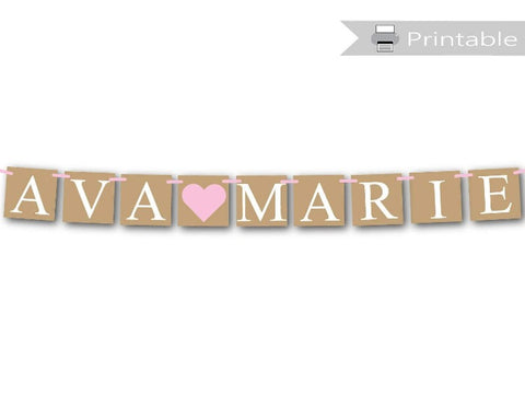 printable rustic baby shower banner - custom name sign - Celebrating Together