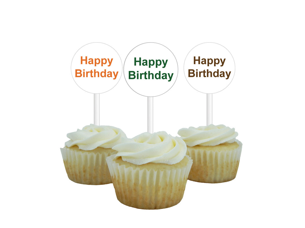 printable happy birthday cupcake toppers, orange green and brown safari birthday party decorations, diy zoo birthday party cupcake picks