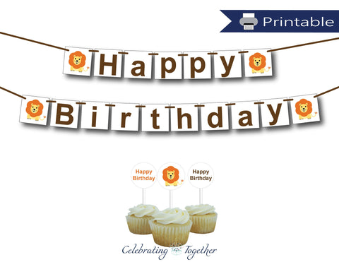 zoo happy birthday banner and cupcake topper set - Celebrating Together