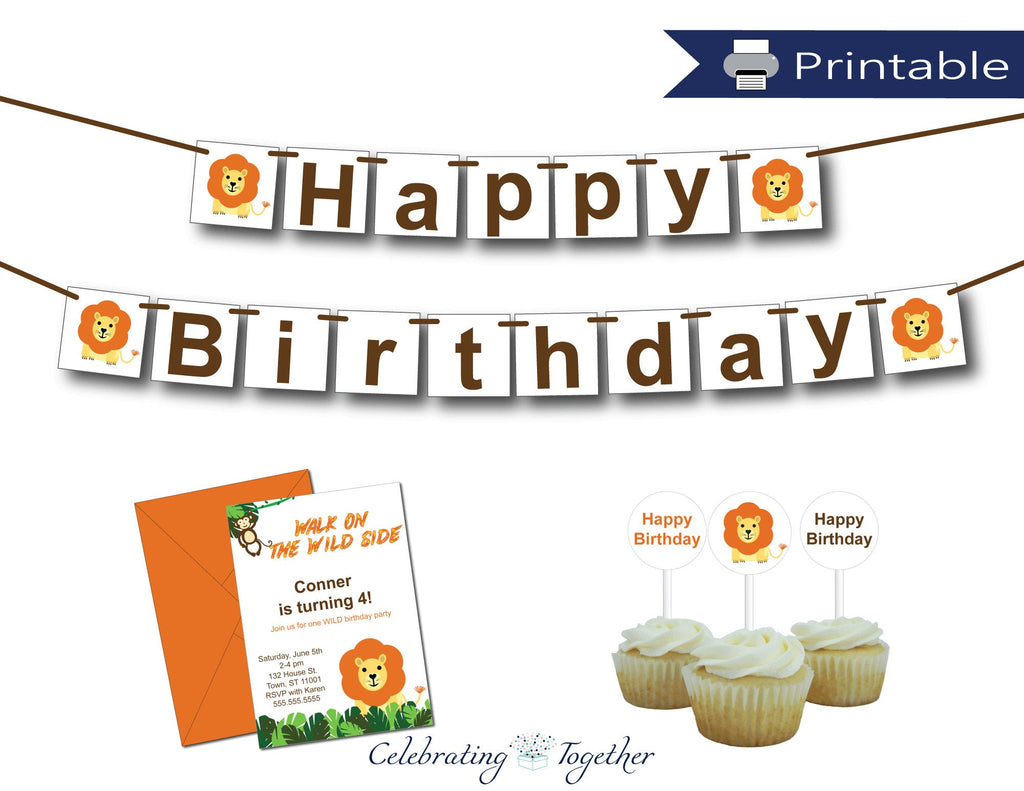 printable lion birthday bundle - Celebrating Together