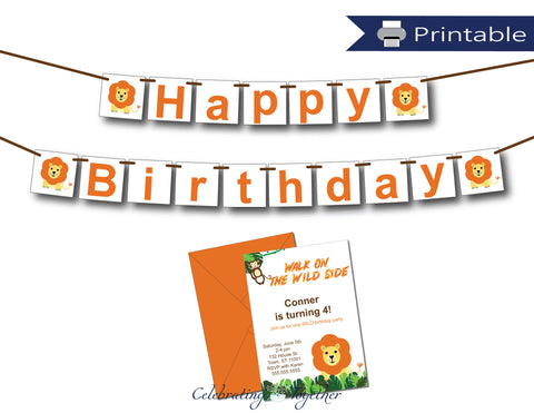 printable happy birthday banner and DIY lion birthday party invitations - Celebrating Together