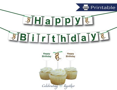 printable monkey birthday party decor bundle - Celebrating Together