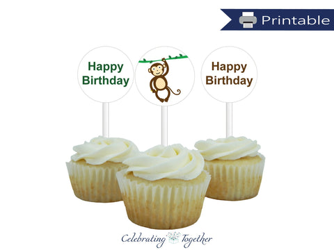 printable monkey birthday cupcake toppers - Celebrating Together