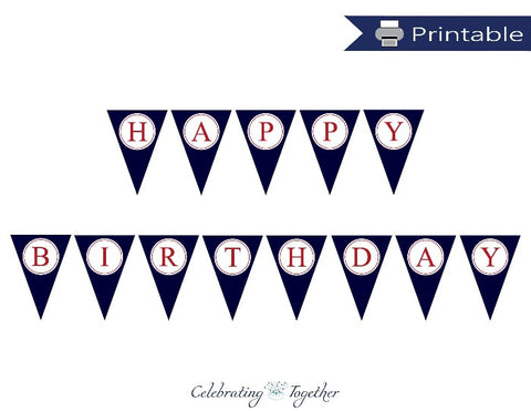Printable Happy Birthday Pennant Banner