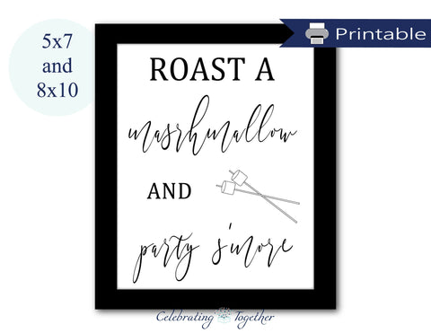 Printable roast a marshmallow and party s'more sign