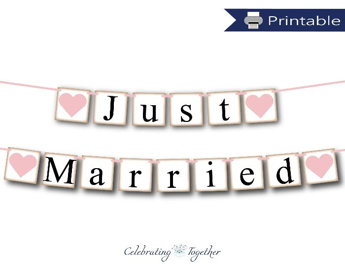 Printable Rustic Just Married Banner