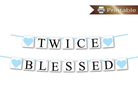 boy printable twice blessed banner - Celebrating Together