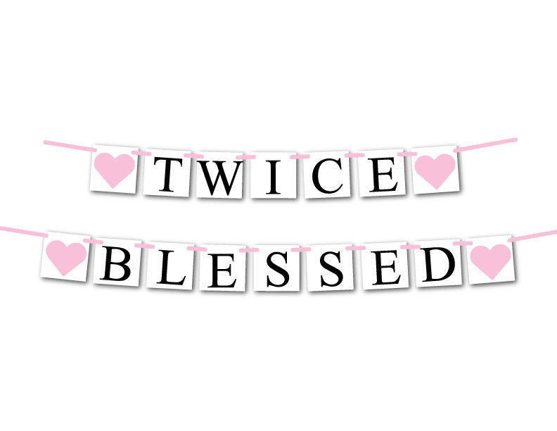 girls twins banner - gender reveal banner - Celebrating Together