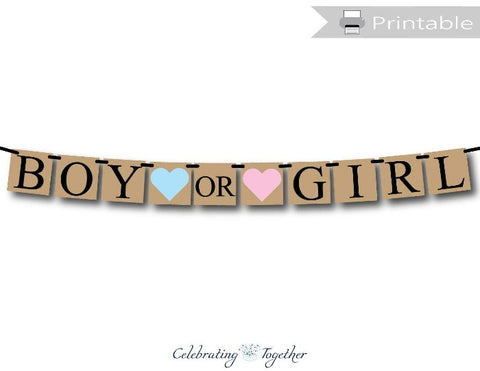 Printable Rustic Boy Or Girl Banner - Dark