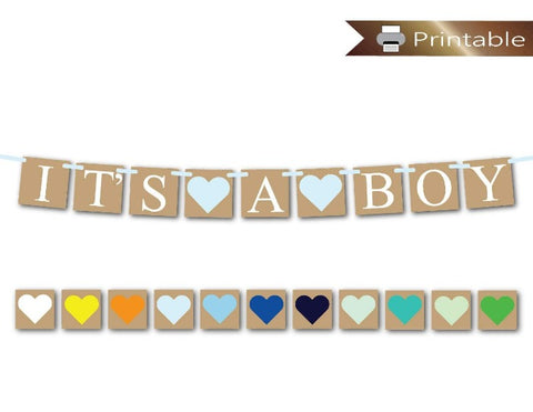 Printable Rustic It's A Boy Banner