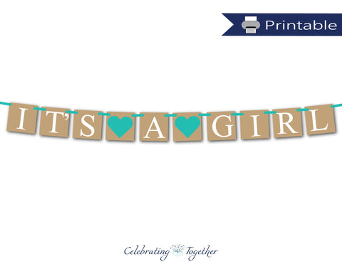 aqua it's a girl banner - gender reveal baby shower decor - Celebrating Together