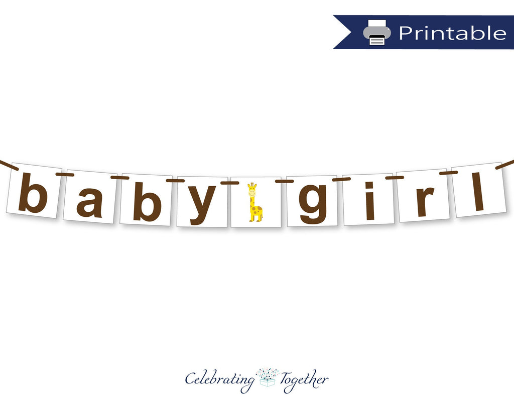 printable baby girl banner - zoo baby shower decorations - Celebrating Together