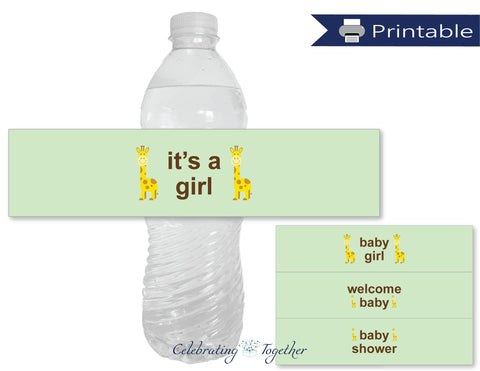 printable girl baby shower water bottle labels - Celebrating Together