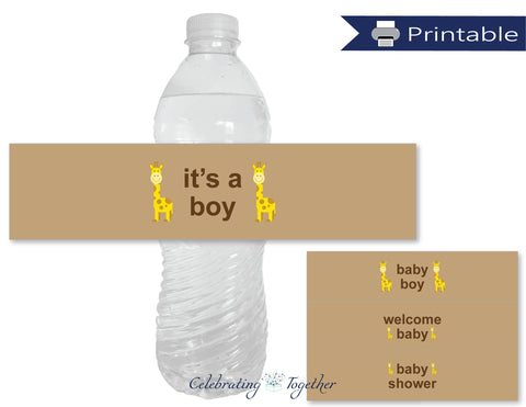 giraffe baby boy water bottle labels - Celebrating Together