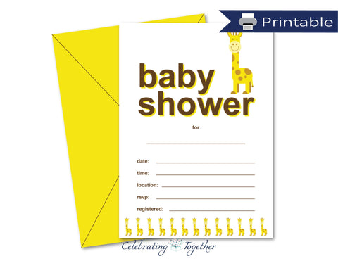 printable blank giraffe baby shower invitations - Celebrating Together