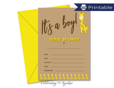 printable its a boy giraffe baby shower invitations - Celebrating Together