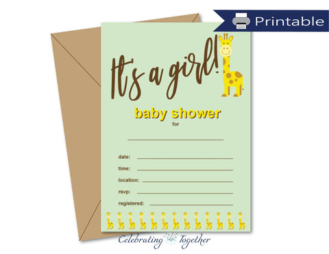 printable it's a girl baby shower invitations - Celebrating Together