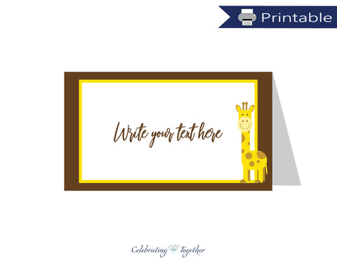 printable giraffe tent cards - baby shower food labels - Celebrating Together