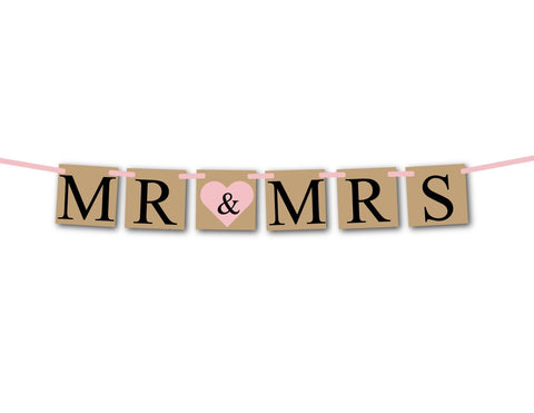 Mr and Mrs banner, bridal shower banner, bride and groom banner, bride & groom sign, wedding photo prop, wedding decorations, wedding banner