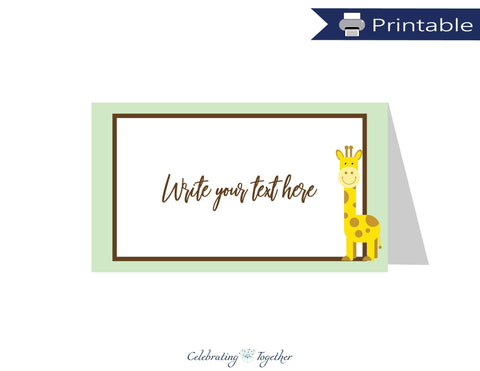 printable giraffe tent cards - Celebrating Together