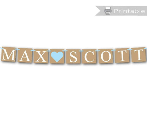 printable rustic boys baby name banner - Celebrating Together