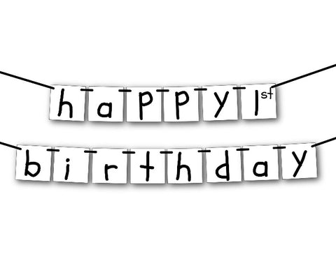 Printable Scribble Happy Birthday Banner