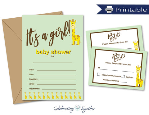 Printable It's A Girl Giraffe Baby Shower Invitation And RSVP Card Bundle