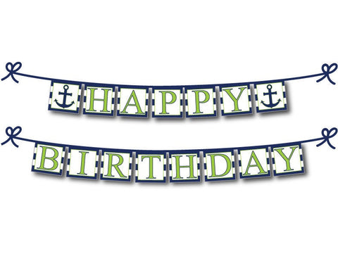 printable green nautical happy birthday banner - Celebrating Together