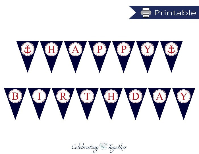 Printable Nautical Happy Birthday Pennant Banner