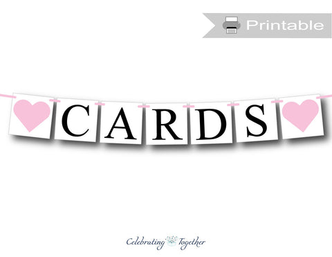 printable cards banner with hearts for baby shower decorations - Celebrating Together