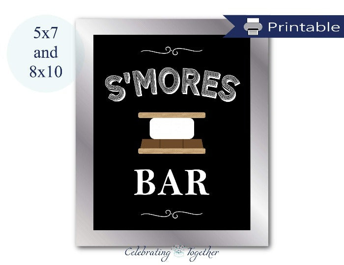 printable chalkboard s'mores bar sign for buffet table at baby shower, wedding and bridal showers - Celebrating Together