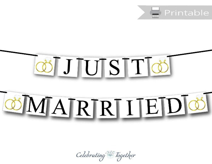 Printable Wedding Ring Just Married Banner