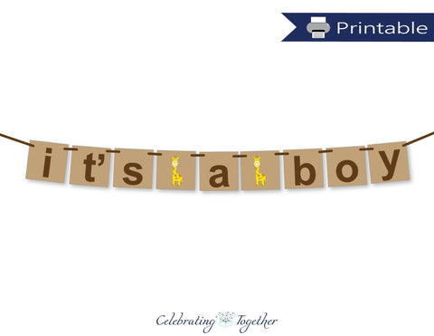 Printable Safari It's A Boy Banner