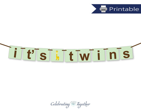 printable giraffe it's twins banner - Celebrating Together