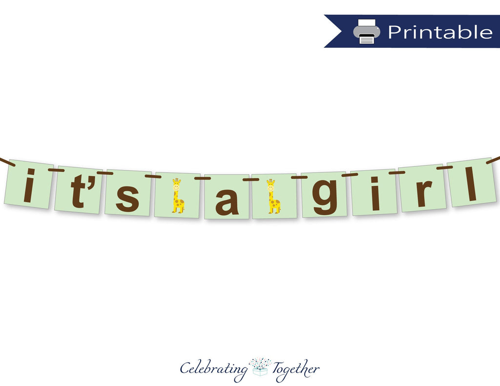 printable safari it's a girl baby shower banner - Celebrating Together