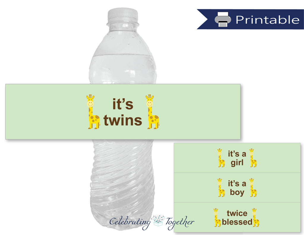 printable it's twins baby shower water bottle labels - Celebrating Together