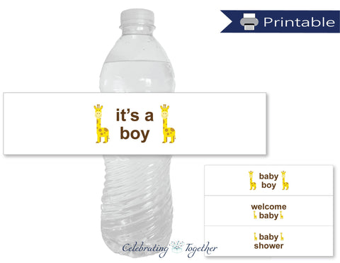 DIY safari baby shower water bottle labels - Celebrating Together