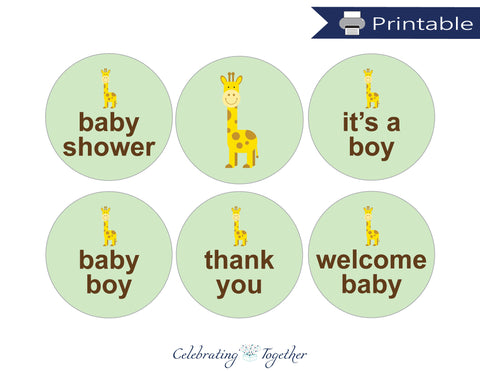 Printable Boys Giraffe Favor Tags