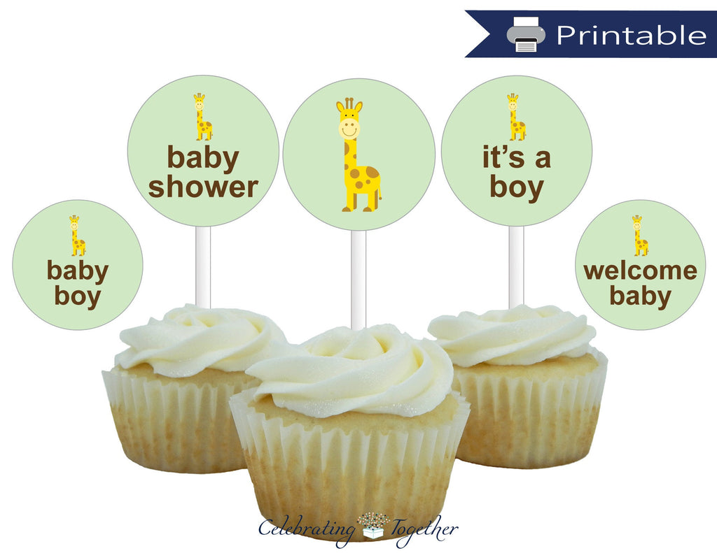 printable boys baby shower cupcake toppers - Celebrating Together