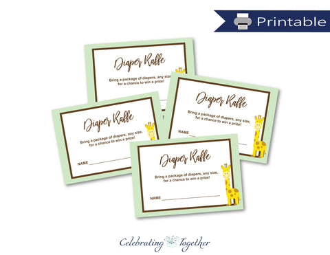 printable giraffe diaper raffle cards - Celebrating Together