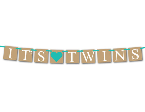 rustic twins baby shower banner - Celebrating Together