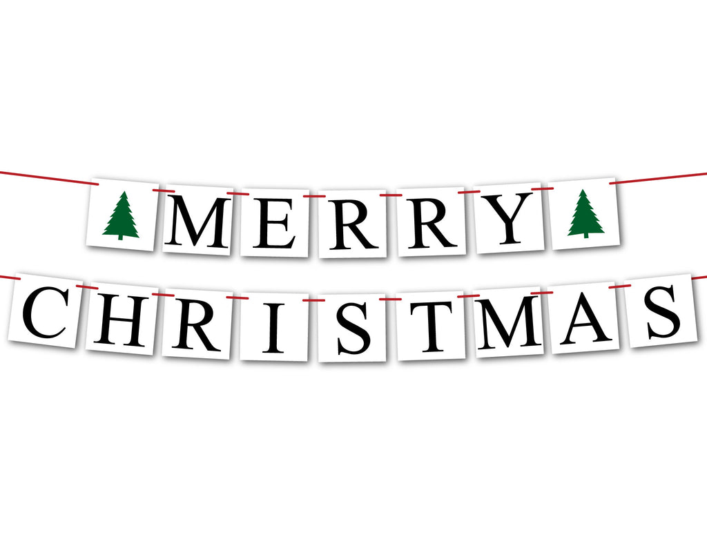 Merry Christmas Banner with evergreen trees, Christmas tree holiday sign, fireplace garland holiday decor, Christmas mantel bunting