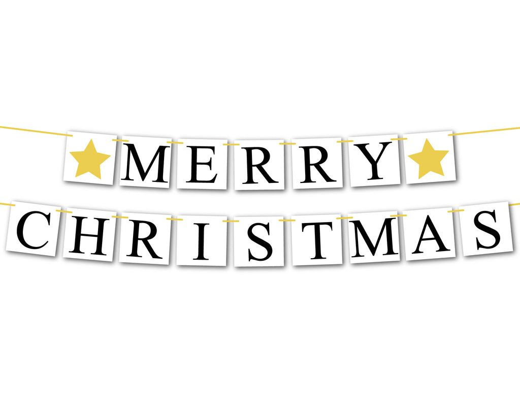 Merry Christmas Banner, gold star Christmas decorations holiday sign, fireplace garland holiday decor, Christmas mantel bunting
