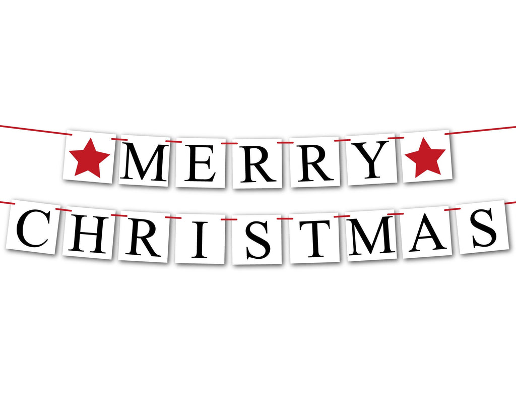 Merry Christmas Banner, red star Christmas decorations holiday sign, fireplace garland holiday decor, Christmas mantel bunting