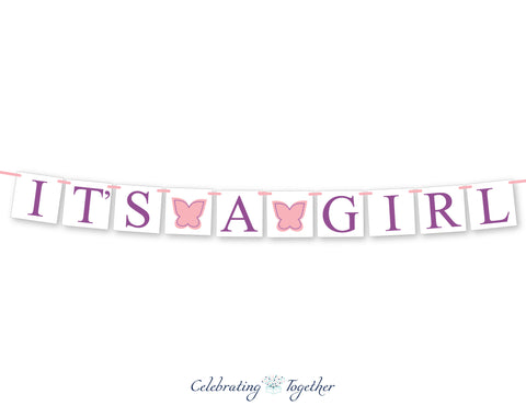butterfly garden party it's a girl banner -Celebrating Together