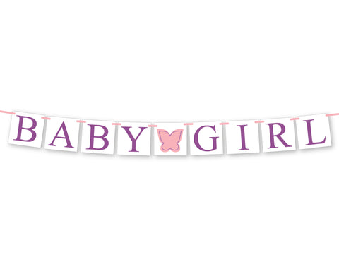 butterfly baby shower decoration - garden party baby girl banner - Celebrating Together
