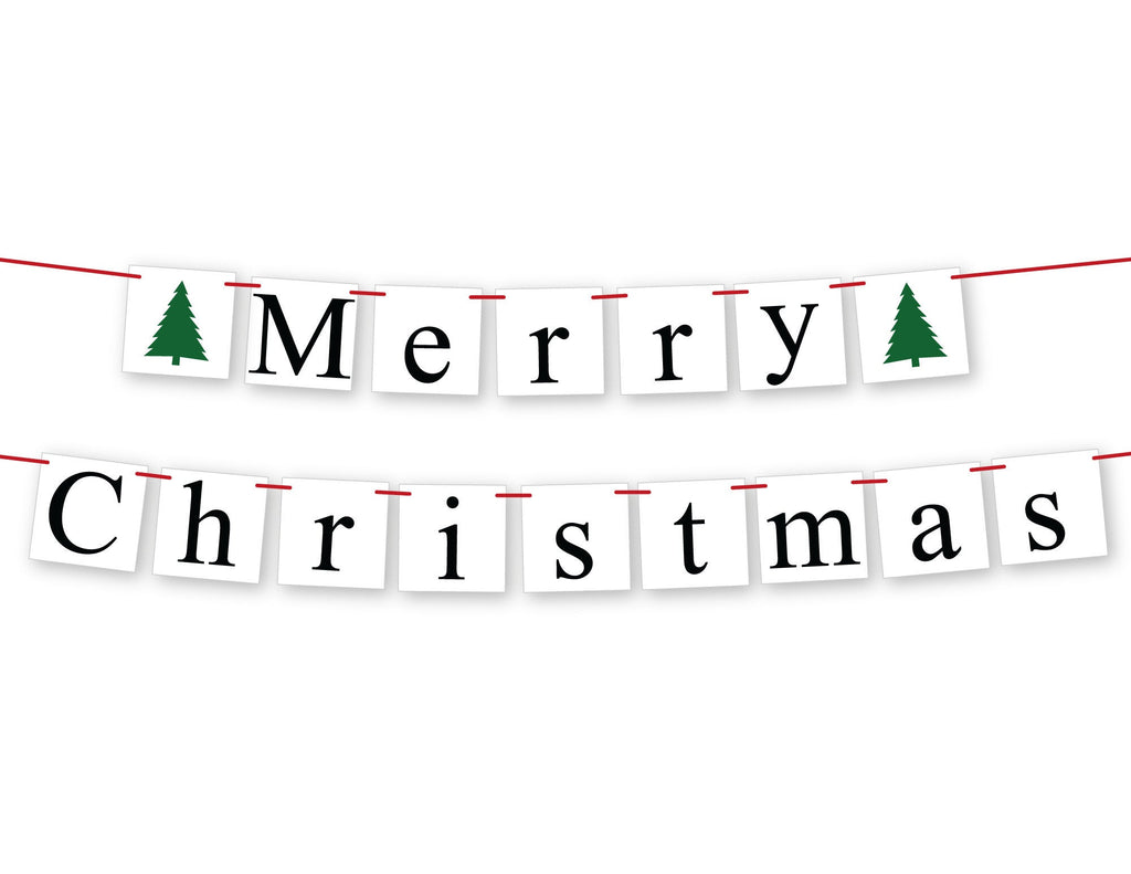 Merry Christmas Banner with evergreen trees, Christmas tree holiday sign, fireplace mantel garland holiday decor, Christmas decorations