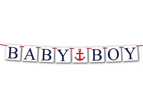 nautical baby boy banner - anchor baby shower decor - Celebrating Together