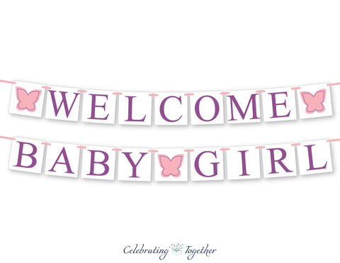 butterfly welcome baby girl banner - garden party baby shower banner - Celebrating Together
