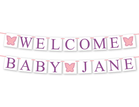 personalized welcome baby name banner for butterfly baby shower decor - Celebrating Together